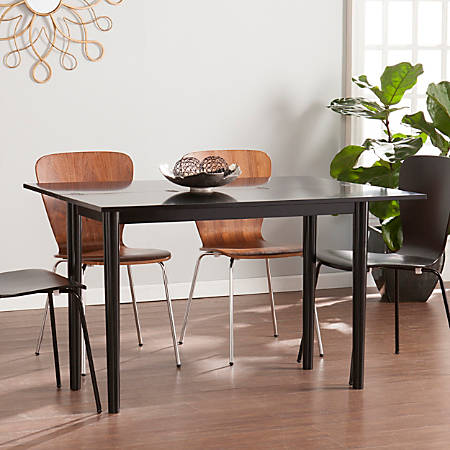 Southern Enterprises Carlow Flip-Top Convertible Console-To-Dining Table, Rectangular, Black
