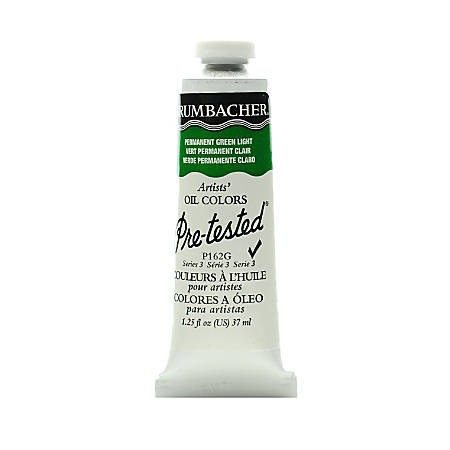 Grumbacher P162 Pre-Tested Artists' Oil Colors, 1.25 Oz, Permanent Green Light, Pack Of 2