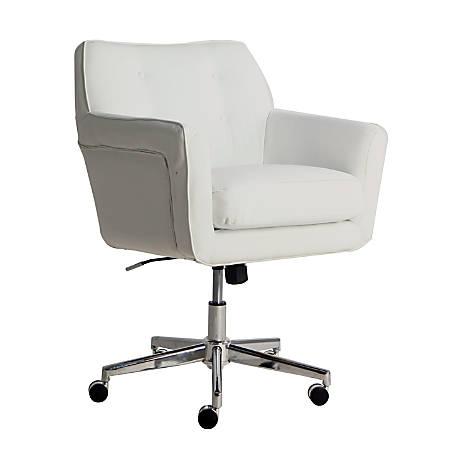 Serta Ashland Home Mid-Back Office Chair, Leather, White/Chrome