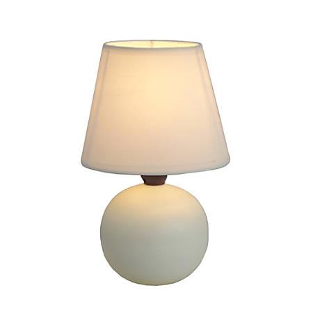 "Simple Designs Mini Globe Table Lamp, 8 7/8""H, Off-White Shade/Off-White Base"