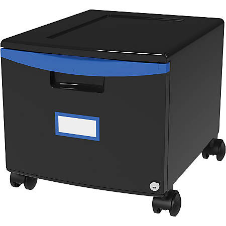 "Storex 18"" Stackable File Drawer - 1 Drawer(s) - 12.8"" Height x 14.8"" Width18.3"" Length - Black, Blue - Polypropylene - 1Each"