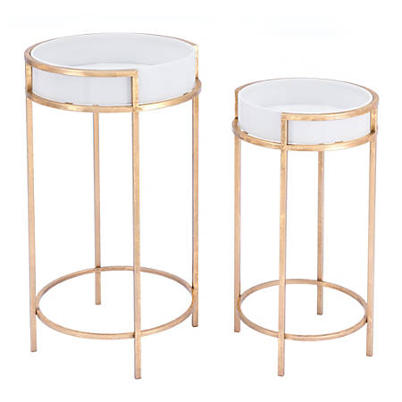 Zuo Modern Tables, Round, White/Gold, Set Of 2 Tables