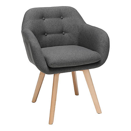 Sensational Ofm 161 Collection Mid Century Modern Tufted Accent Chairs With Arms Dark Gray Fabric Beechwood Frame Set Of 2 Chairs Item 8075591 Andrewgaddart Wooden Chair Designs For Living Room Andrewgaddartcom