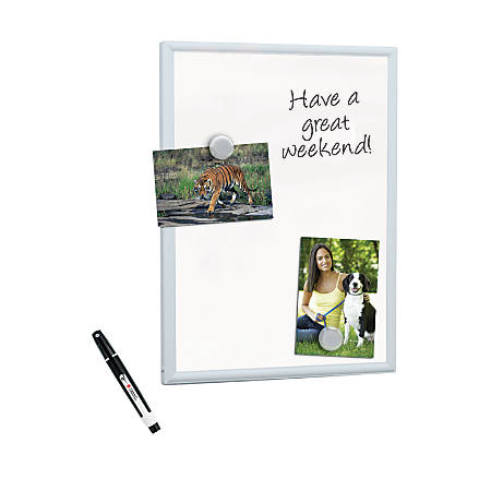 "FORAY™ Mini Magnetic Dry-Erase Board With Aluminum Frame, 11"" x 14"", White Board, Silver Frame"