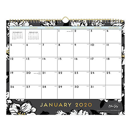 "Blue Sky™ Monthly Wall Calendar, 15"" x 12"", Baccara Dark, January To December 2020, 116051"