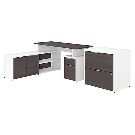 "Bush Business Furniture Jamestown L-Shaped Desk With Drawers And Lateral File Cabinet, 60""W, Storm Gray/White, Standard Delivery"