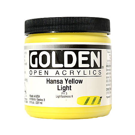 Golden OPEN Acrylic Paint, 8 Oz Jar, Hansa Yellow Light