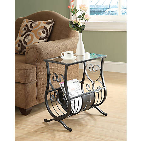 Monarch Specialties Magazine Holder Accent Table with Glass-Top, Rectangle, Satin Black