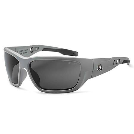 Ergodyne Skullerz® Safety Glasses, Baldr, Anti-Fog, Matte Gray Frame, Smoke Lens