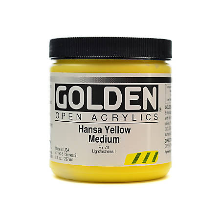 Golden OPEN Acrylic Paint, 8 Oz Jar, Hansa Yellow Medium