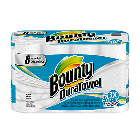 """Bounty® DuraTowel® Paper Towels, 2-Ply, 11"""" x 9 1/10"""", 53 Sheets Per Roll, Pack Of 8 Rolls"""