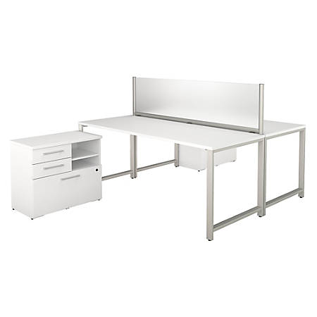 "Bush Business Furniture 400 Series 2-Person Workstation With Table Desks And Storage, 72""W x 30""D, White, Standard Delivery"