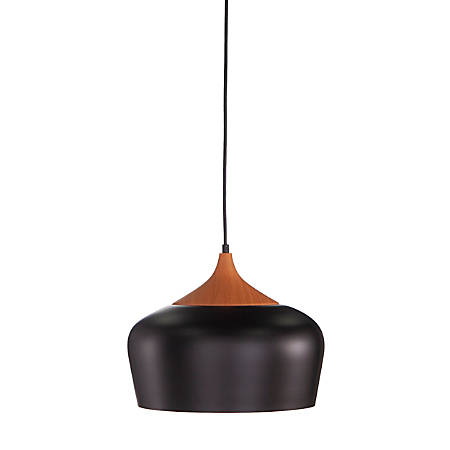 "Southern Enterprises Picardy Metal LED Pendant Lamp, 11""H, Black/Natural"