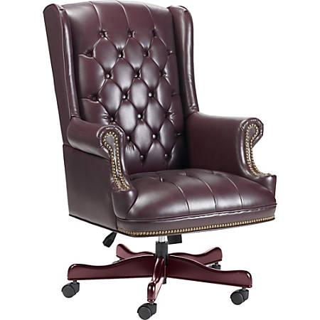 Lorell® Berkeley Traditional Tufted High-Back Chair, Burgundy/Mahogany