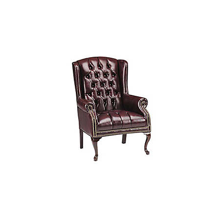 Lorell® Berkeley Queen Anne Tufted Wing-Back Side Chair, Oxblood/Mahogany