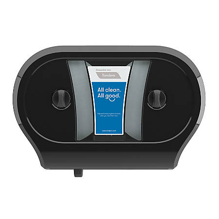"Tandem® Double JRT Bathroom Tissue Dispenser, 22 3/8""H x 15 5/16""W x 6 1/2""D, Black"