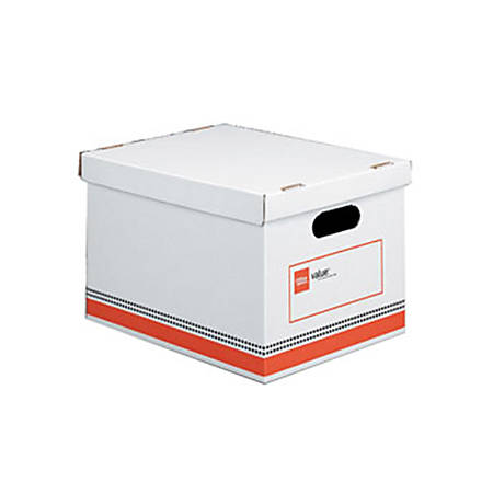 """Office Depot® Brand Economy Storage Box, 15"""" x 12"""" x 10"""", Letter/Legal Size, 60% Recycled, Red/White"""