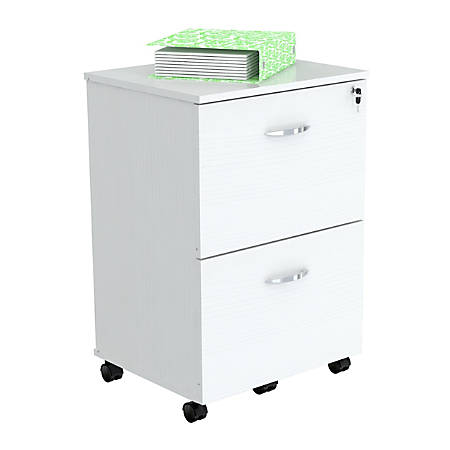 "Inval Uffici Collection Letter-/Legal-Size Vertical Mobile Locking File Cabinet, 2 Drawers, 27 5/16""H x 18 11/16""W x 15 13/16""D, Laricina White, Standard Delivery"