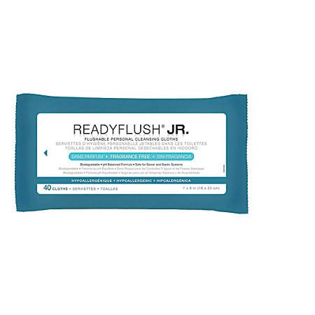 """ReadyFlush Flushable Wipes, Unscented, 8"""" x 7"""", White, 40 Wipes Per Pack, Case Of 24 Packs"""