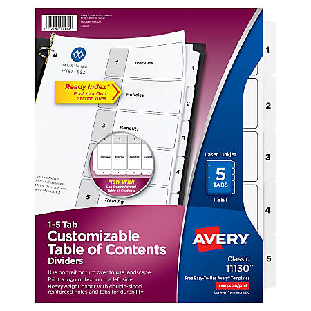 Avery® Ready Index® Table Of Contents Dividers, 1-5 Tab, Black/White