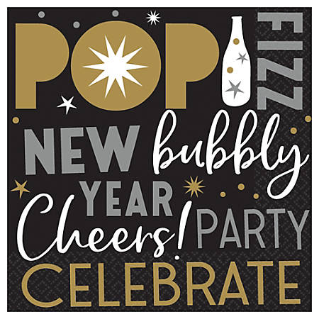 """Amscan Celebrate The New Year 2-Ply Beverage Napkins, 5"""" x 5"""", 125 Napkins Per Pack, Case Of 2 Packs"""