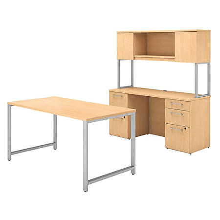 """Bush Business Furniture 400 Series Table Desk And Credenza With File Drawers And Hutch, 60""""W x 30""""D, Natural Maple, Standard Delivery"""