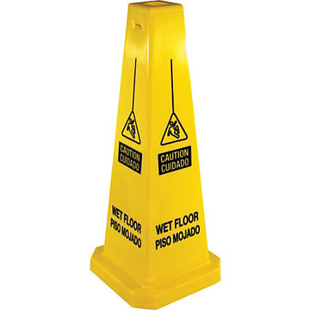 """Genuine Joe Bright Four-sided Caution Safety Cone - 1 Each - 10"""" Width x 24"""" Height - Cone Shape - Stackable - Polypropylene - Yellow"""