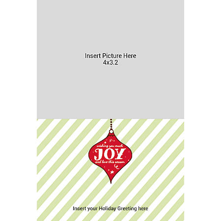 Flat Photo Greeting Card, Joy With Stripes, Vertical
