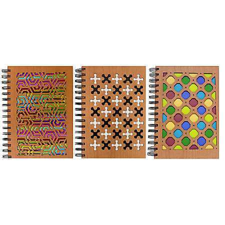 "Inkology Laser Cut Journals, 5-7/8"" x 8-1/4"", College Ruled, 192 Pages (96 Sheets), Multicolor Wood, Pack Of 6 Journals"