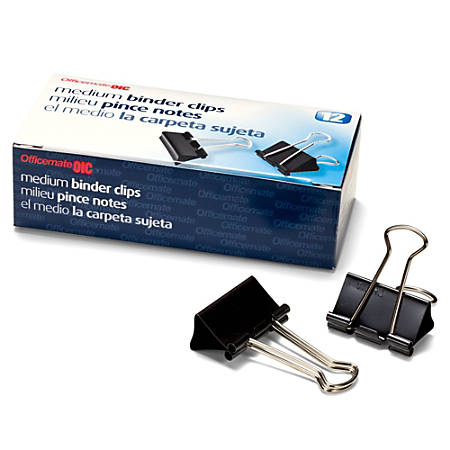 "OIC® Binder Clips, Medium, 1 1/4"", Black, Box Of 12"