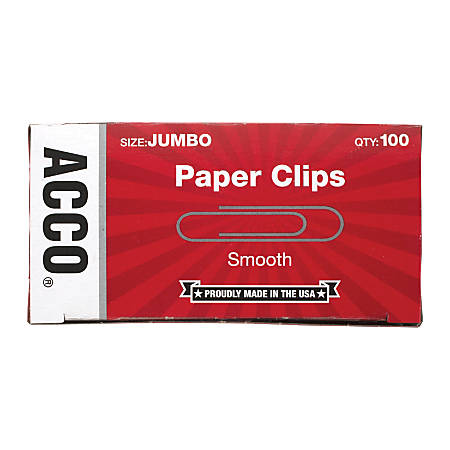 "ACCO® Economy Jumbo Paper Clips, Smooth Finish, 1-3/4"", Silver, 100 Clips Per Box, Pack Of 10 Boxes"