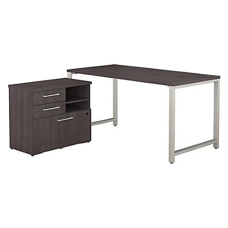 "Bush Business Furniture 400 Series Table Desk with Storage, 60""W x 30""D, Storm Gray, Premium Installation"