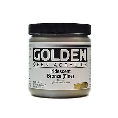 Golden OPEN Acrylic Paint, 8 Oz Jar, Iridescent Bronze (Fine)