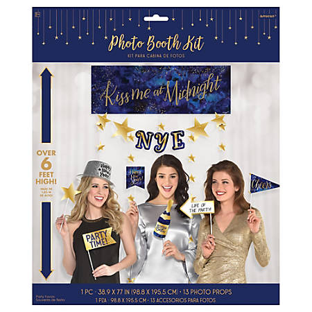 Amscan Midnight New Year's Eve Photo Booth Kits, Multicolor, 1 Kit Per Pack, Case Of 2 Packs