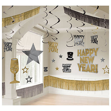 Amscan New Year's Giant Room Decorating Kit, Multicolor, Pack Of 28 Pieces