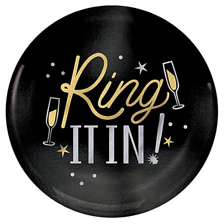"Amscan New Year's Ring It In Plastic Plates, 7-1/2"", Black, Pack Of 20 Plates"