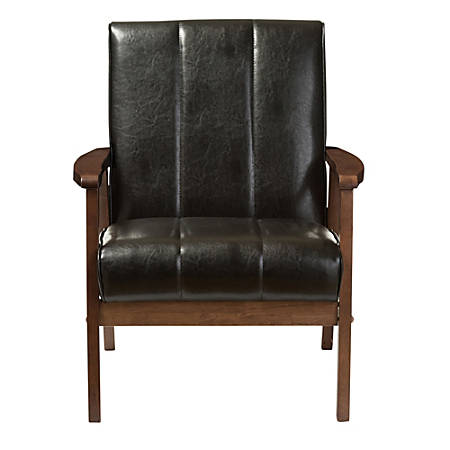 Baxton Studio Luisa Faux Leather Lounge Chair, Black/Cocoa