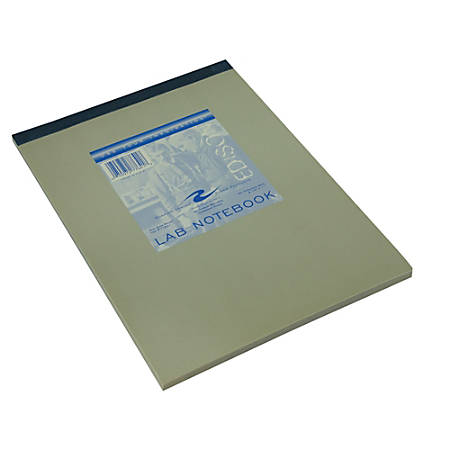 """Roaring Spring Top Opening Carbonless Lab Notebook - 100 Sheets - Stapled/Tapebound - 8"""" x 11"""" - White, Blue Paper - Gray Cover - Board Cover - Numbered, Carbonless, Perforated, Unpunched - 1 / Each"""