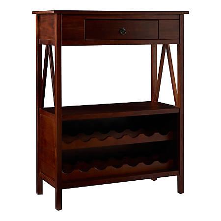 Linon Rockport 14-Bottle Wine Cabinet, 1 Drawer, Antique Tobacco