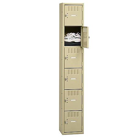 """Tennsco Six-Tier Box Locker, 1-Wide, 72""""H x 12""""W x 18""""D, Sand"""