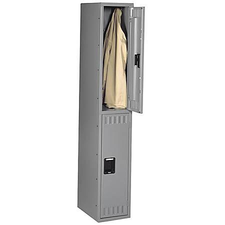 "Tennsco Double-Tier Locker, 1 Wide, 72""H x 12""W x 18""D, Medium Gray"