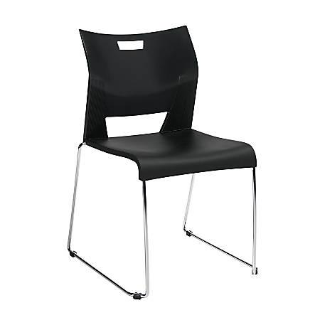 "Global® Duet™ Stacking Chairs, 33 1/4""H x 22 3/4""W x 20 3/4""D, Asphalt Night/Chrome"