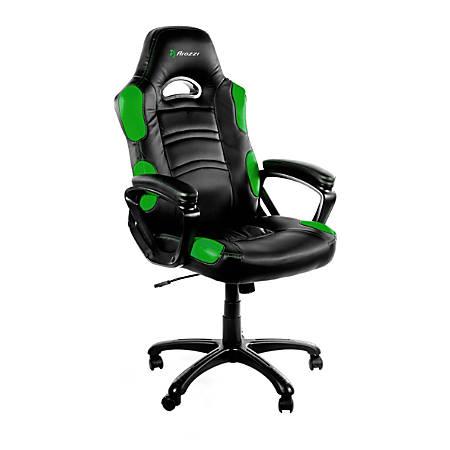 Arozzi Enzo Series Gaming Racing-Style Swivel Chair, Black/Green