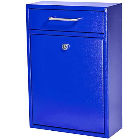 """Mail Boss Locking Security Drop Box, 16-1/4""""H x 11-1/4""""W x 4-3/4""""D, Bright Blue"""