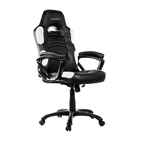 Arozzi Enzo Series Gaming Racing-Style Swivel Chair, Black/White
