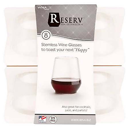 WNA Stemless Plastic Wine Glasses, 12 Oz, Clear, Case Of 64