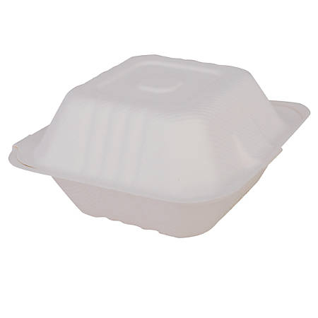"""SCT® ChampWare™ Clamshell Containers, 3""""H x 6""""W x 6""""D, White, Carton Of 500 Containers"""