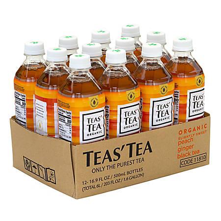 Teas' Tea Organic Peach Ginger Black Tea, 16.9 Oz, Carton Of 12