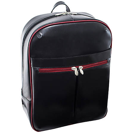 "McKleinUSA Edison L Series Leather Backpack With 15.4"" Laptop Pocket, Black/Red Trim"
