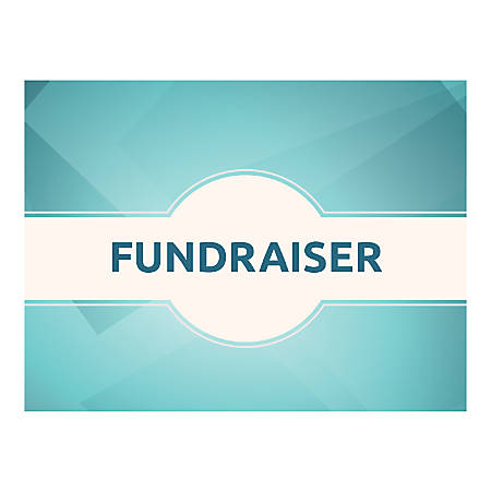 Plastic Sign, Fundraiser Teal, Horizontal
